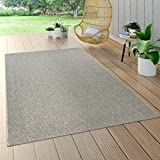 Paco Home In- & Outdoor Flachgewebe Teppich Sisal Optik Natürlicher Look Einfarbig Grau, Grösse:80x150 cm