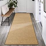 ybaymy Sisal Teppich Läufer, Teppich aus Naturfasern, 300 x 80 cm Matte Naturfaser Kratzmatte aus Baumwolle, Sisalteppich mit Anti-Rutsch-Unterlage, für Wohnzimmer Schlafzimmer