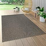 Paco Home In- & Outdoor Flachgewebe Teppich Sisal Optik Natürlicher Look Uni Braun Grau, Grösse:120x170 cm