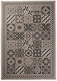 Carpeto Sisal Teppich Grau 160 x 230 cm Marokkanisches Fliesenmuster Muster Flachgewebe Sisal Kollektion